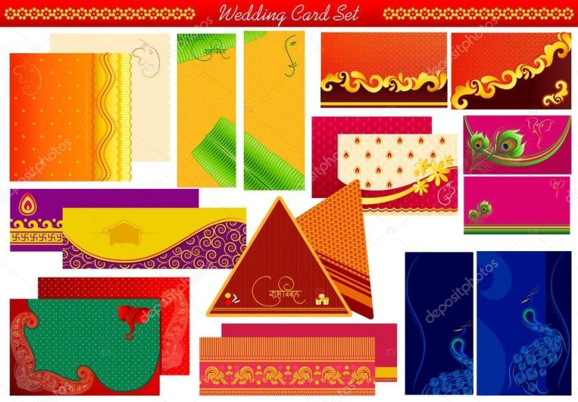 Indian Wedding Invitation Card Stock Vector 36720899