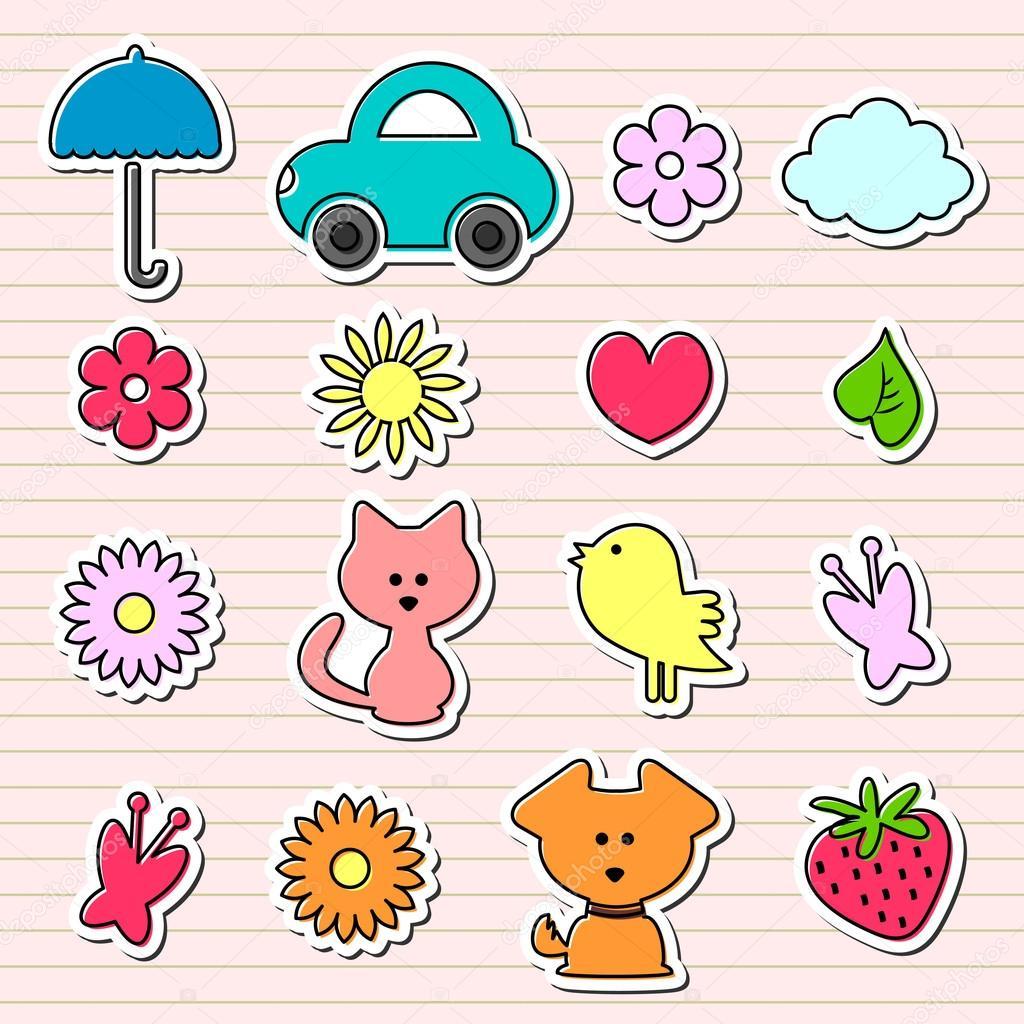 Cute Childish Stickers Set Stock Vector Littlepaw