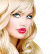 blonde woman portrait. beautiful