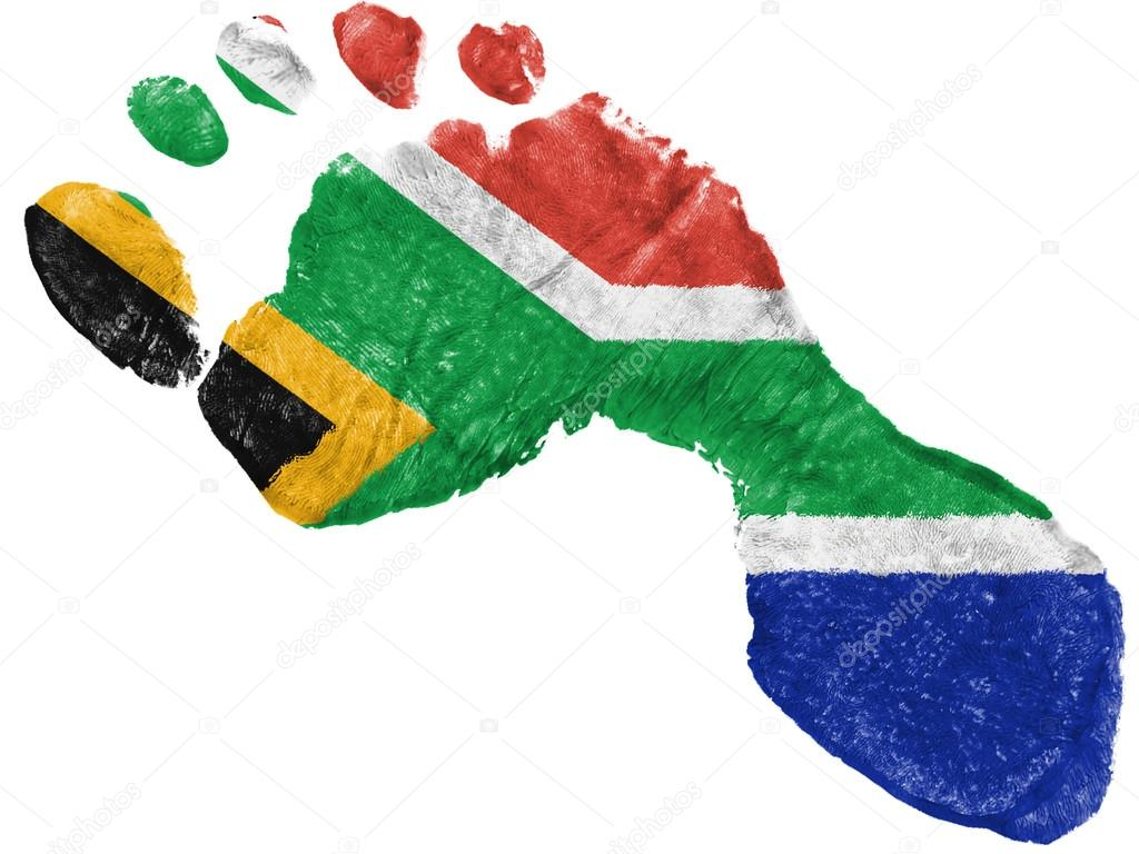 South African Flag Painted In A Shape Of Footprint