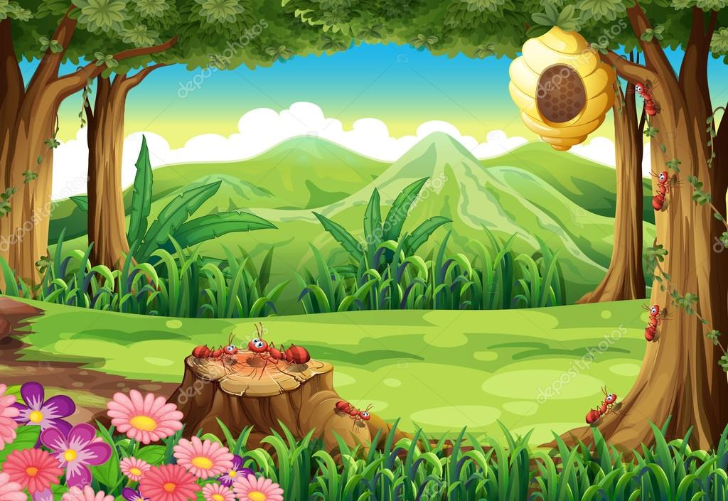 3d Mushroom Garden Wallpaper Un Grupo De Hormigas Y Un Panal De Abejas En El Bosque