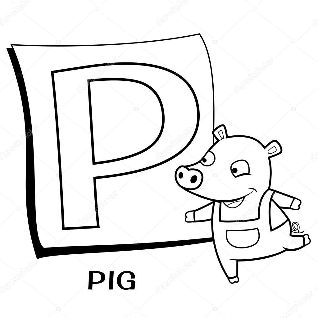 Coloring-Alphabet für Kinder, p — Stockvektor © kchungtw