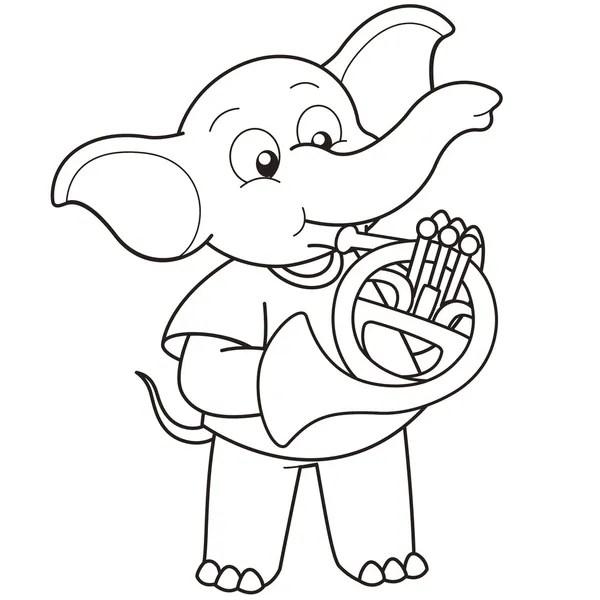 Dos desenhos animados do instrumento trompa Vetores de