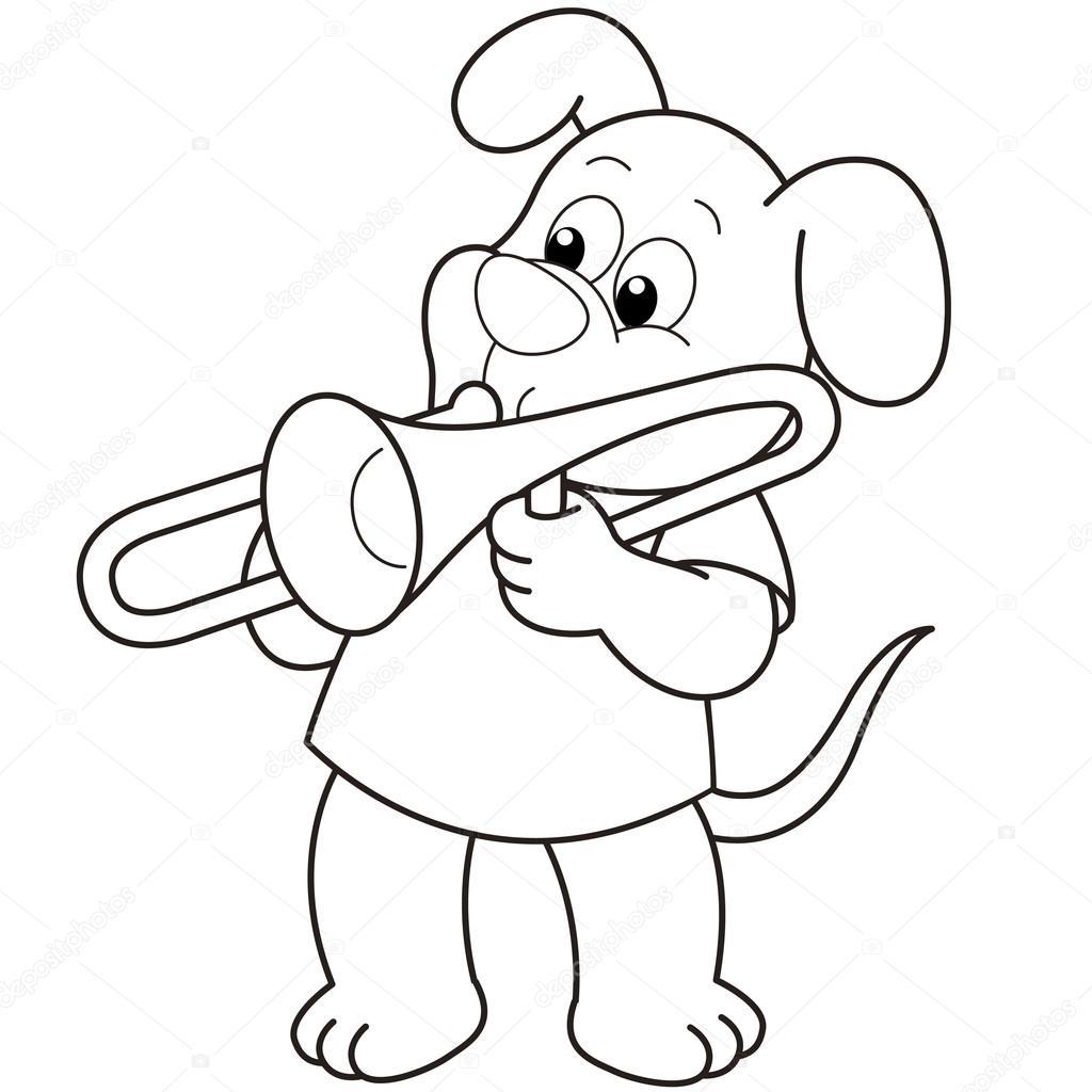 Perro De Dibujos Animados Tocando Un Trombon