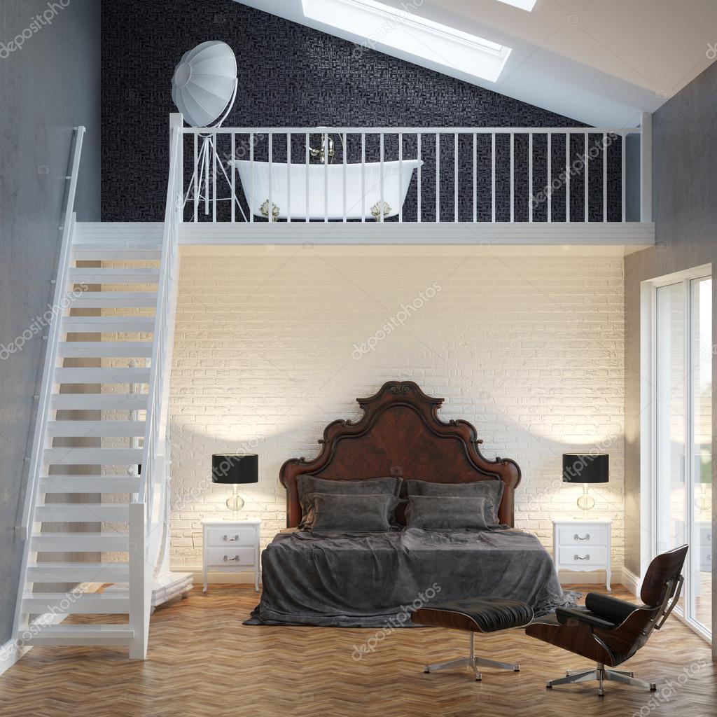 Loft slaapkamer vintage interieur met bakstenen muur en