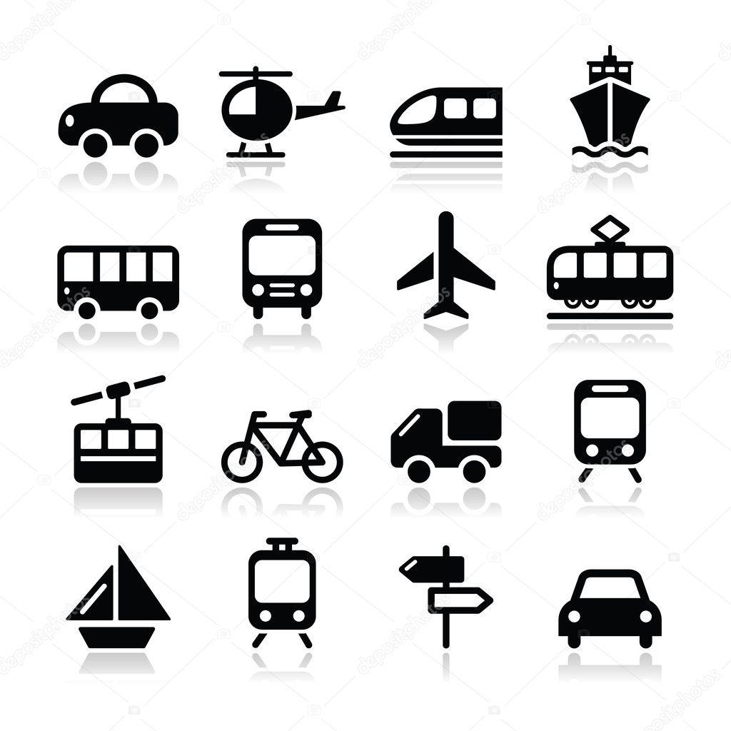 Transport Travel Vector Icons Set Isoalted On White