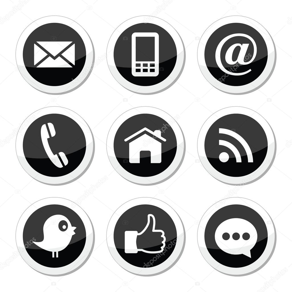 Contact Web Blog And Social Media Round Icons