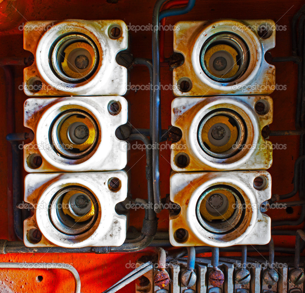 hight resolution of ceramic fuses in old electric box u2014 stock photo wlad74 51045235ceramic fuses in old electric box u2013 stock image st depositphotos
