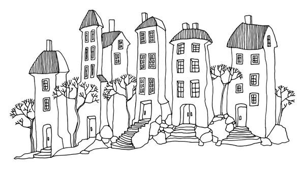 Cartoon hand tekenen van huizen — Stockvector © _fla #97915314