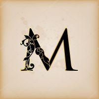Vintage initials letter m  Stock Vector  pocike #12548301
