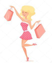 shopping spree cartoon cute vector blonde depositphotos clip illustration