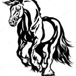 Running Draft Horse Black White Stock Vector C Insima 26119521