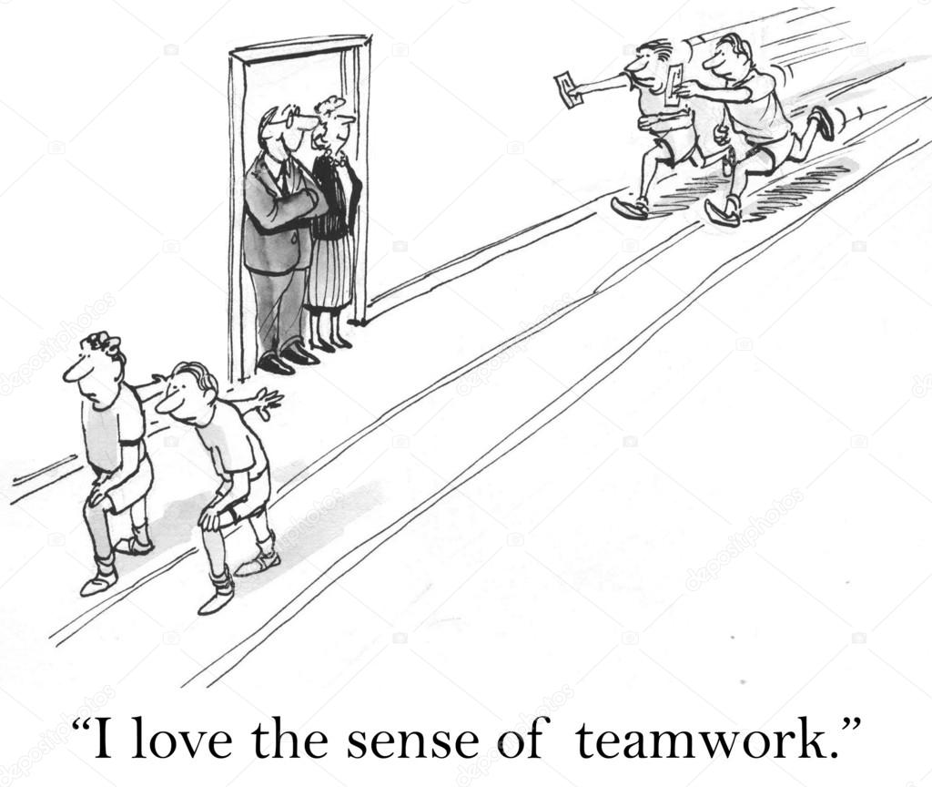 Teamwork Cartoon Illustration