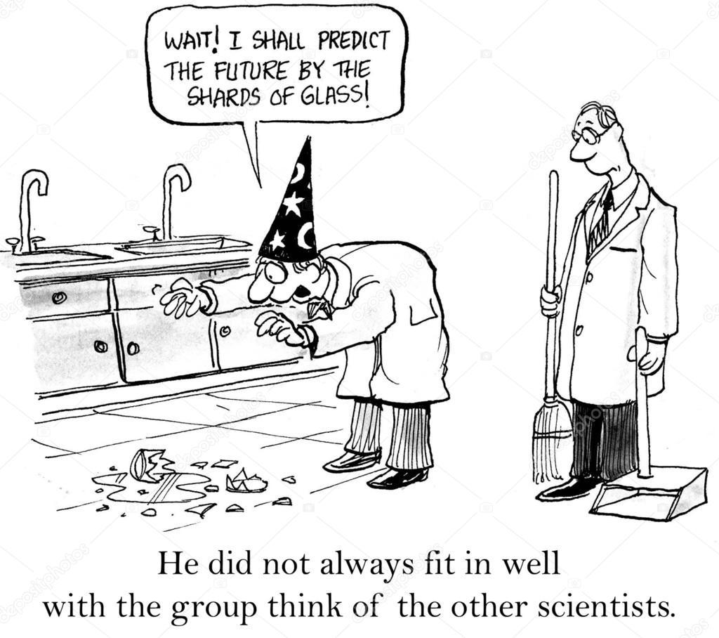Cartoon illustration scientific wants to predict the