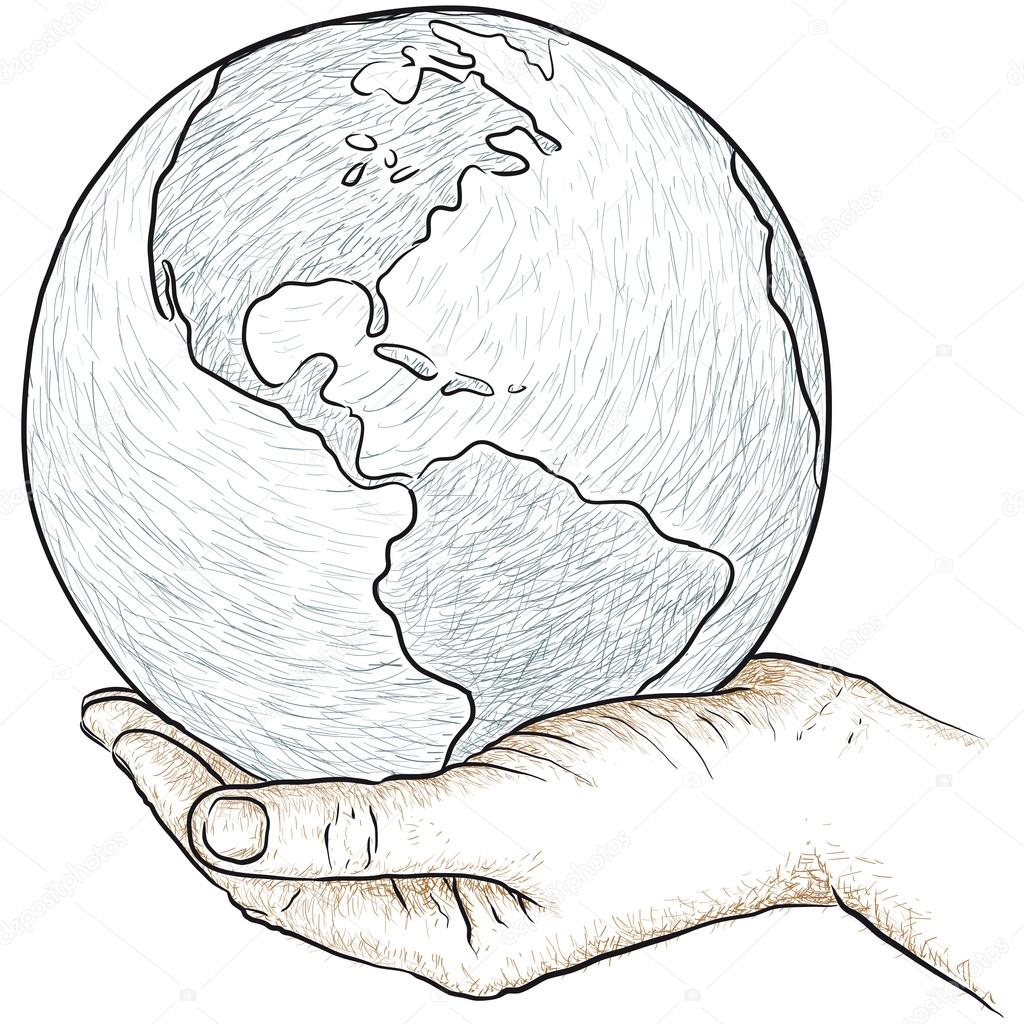 Hand holding the world — Stock Vector © robodread #22057001