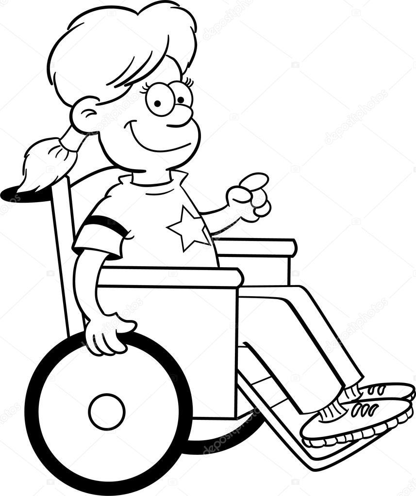 Girl in a wheelchair — Stock Vector © kenbenner #12434444