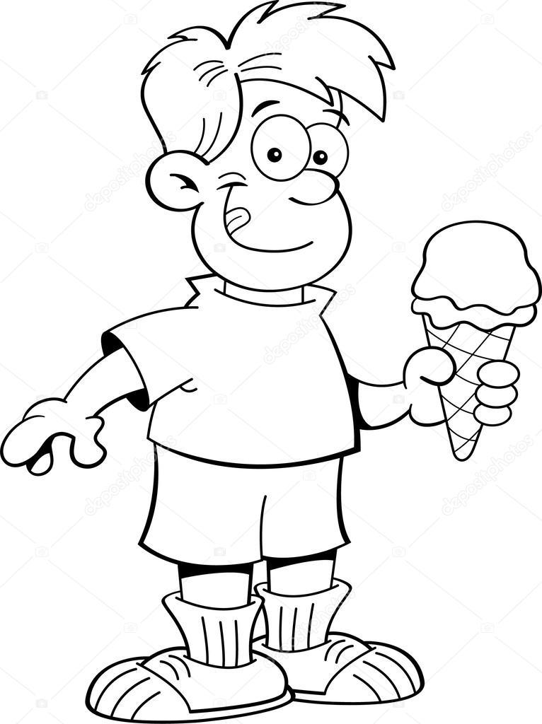 Cartoon boy eating an ice cream cone — Stock Vector