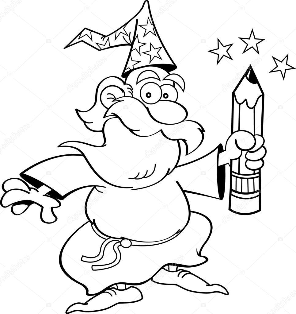 Cartoon wizard with a pencil — Stock Vector © kenbenner