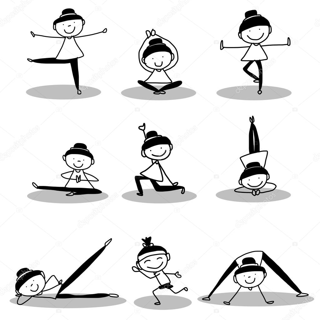 Hand Drawing Girls Doing Yoga