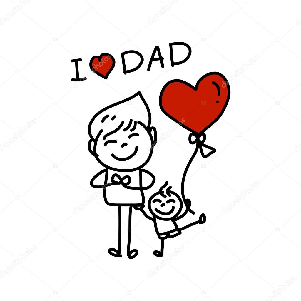 Happy Father S Day Cartoon Hand Drawing