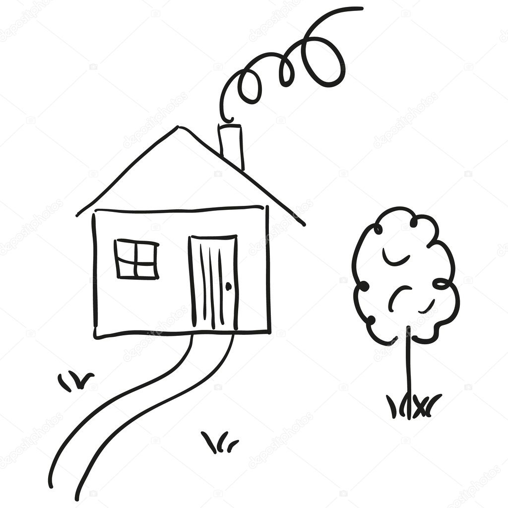 Hand drawn house in a sketch cartoon style. — Stock Vector