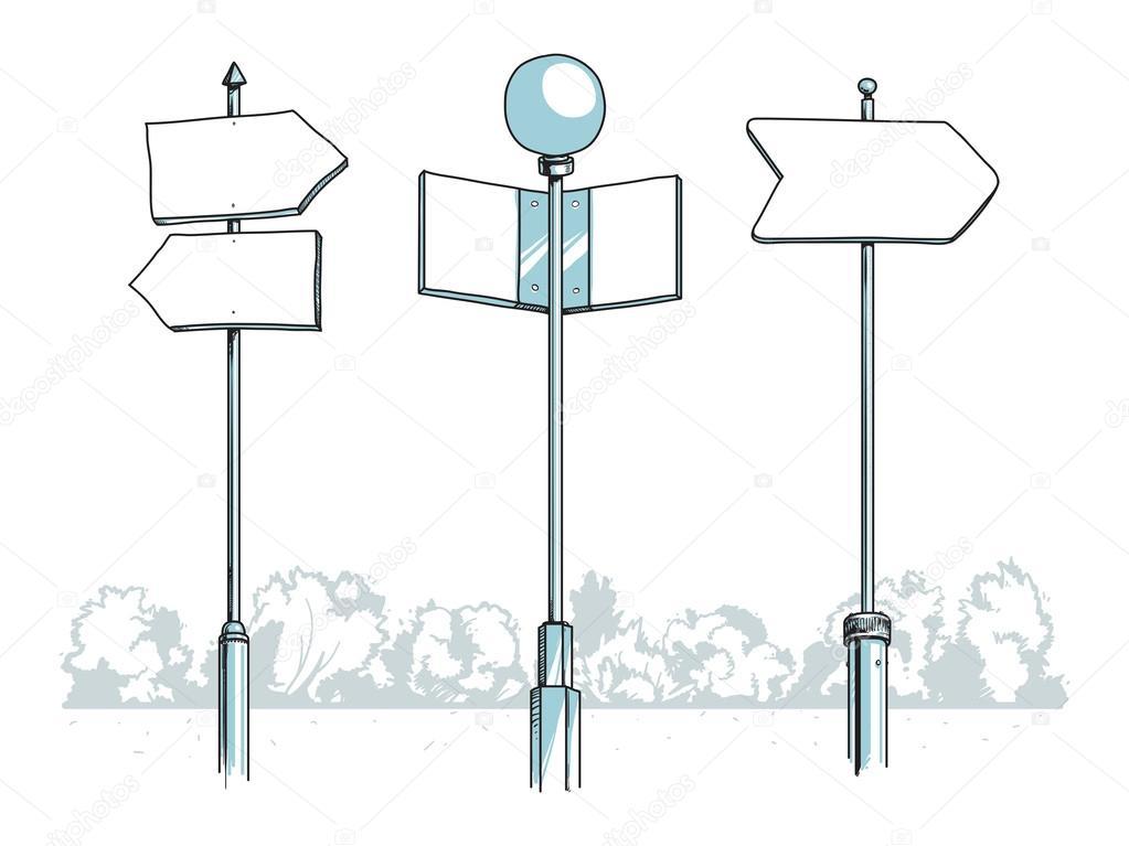 Some blank signposts — Stock Vector © czaroot #27137409