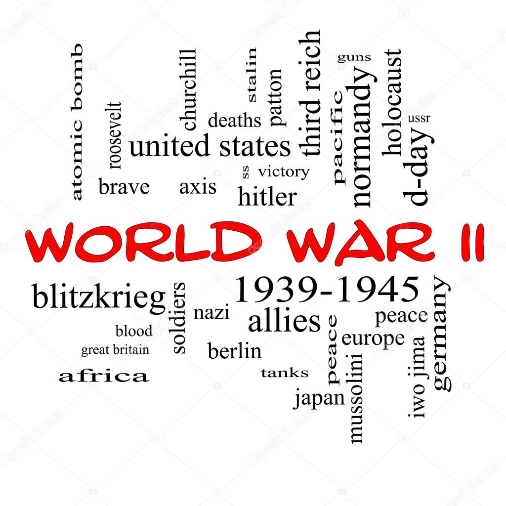 World War II Word Cloud Concept in Red Caps — Stock Photo