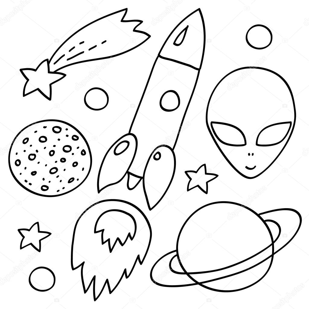 Space Elements Set In Black And White Spaceship Alien