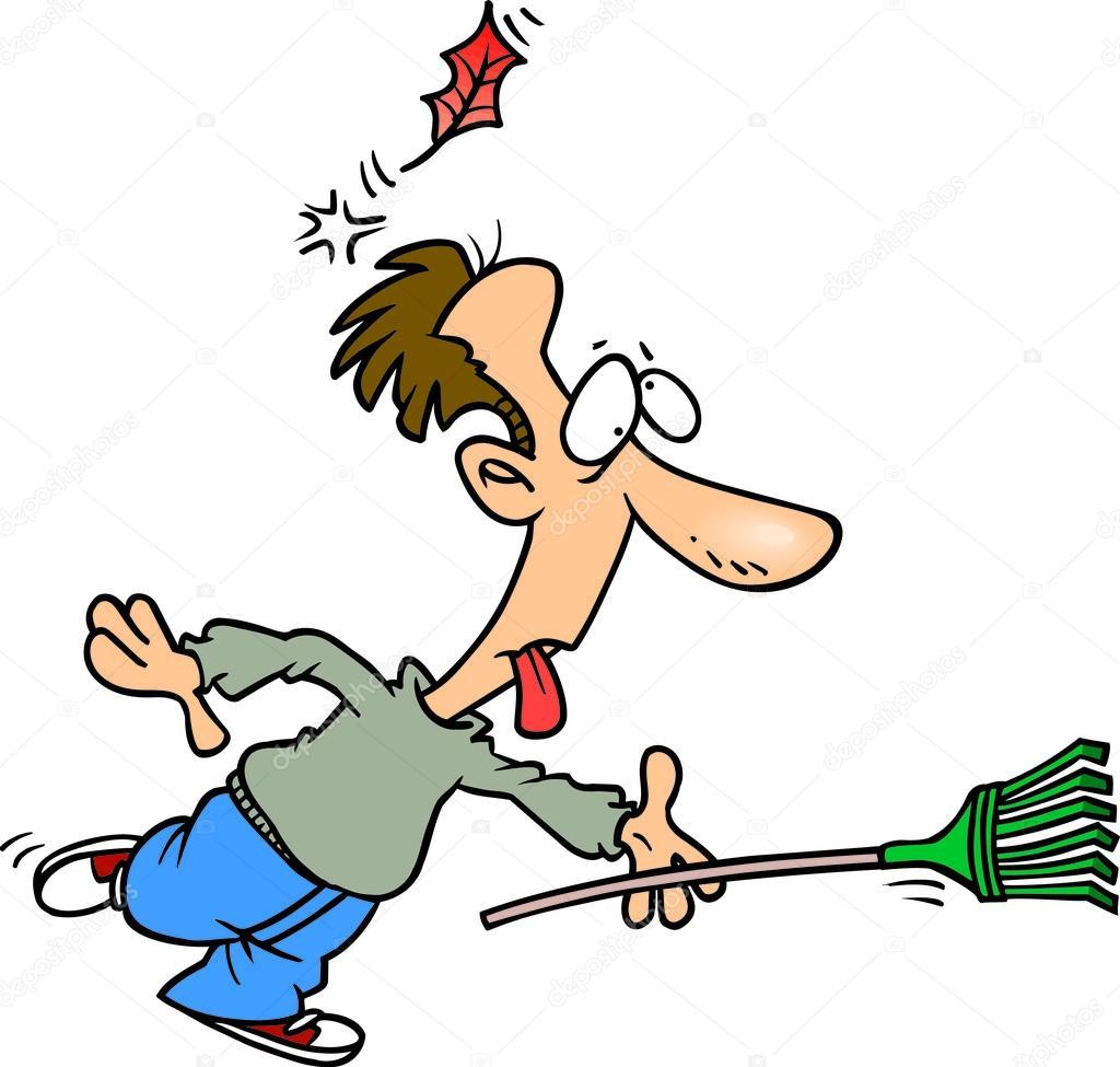 hight resolution of cartoon man raking leaves stock illustration