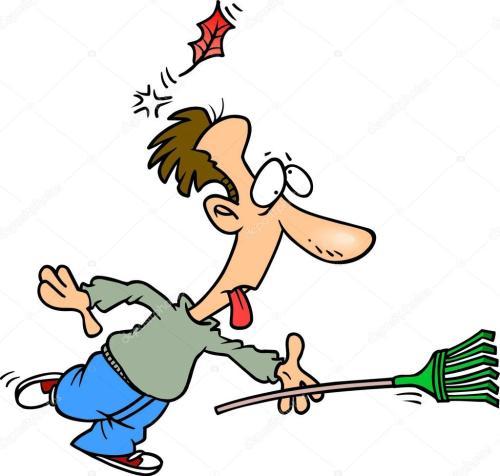 small resolution of cartoon man raking leaves stock illustration