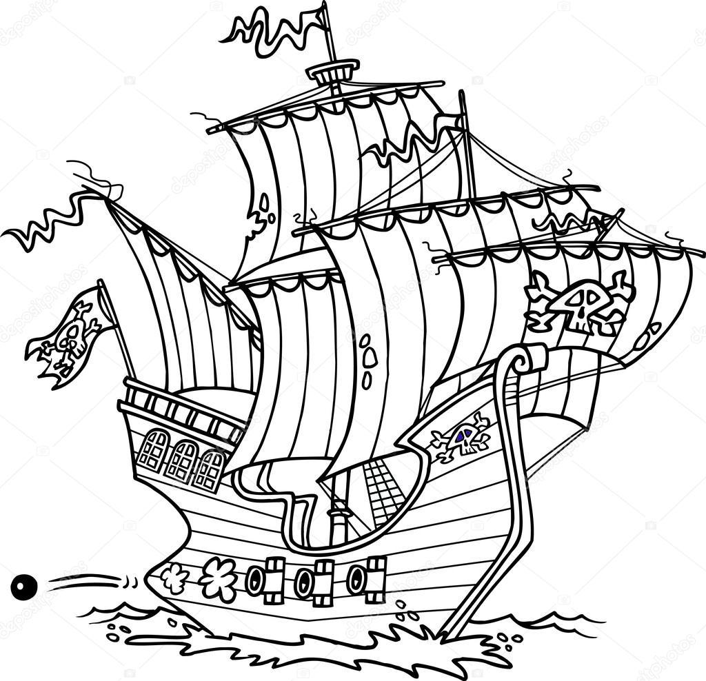 Cartoon Pirate Ship — Stock Vector © ronleishman #13949191