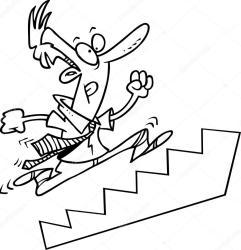 stairs cartoon running escaleras drawing subiendo dibujos line businessman empresario business leishman ron vector animados depositphotos