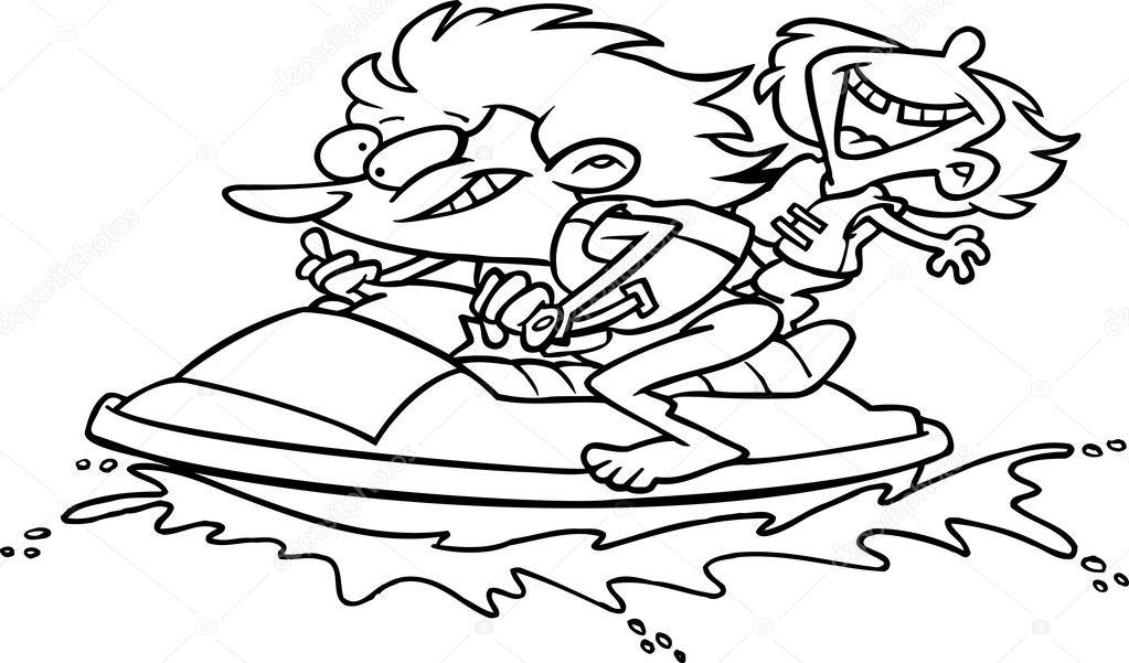 Cartoon Wave Runner Jet Ski — Stock Vector © ronleishman
