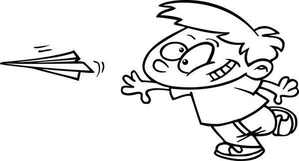 avión de papel de dibujos animados — Vector de stock