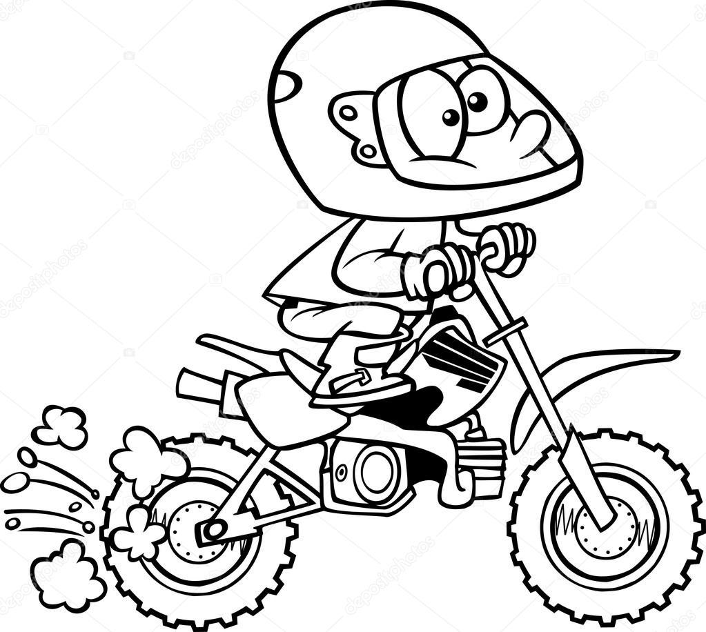 Desenho menino minibike — Vetor de Stock © ronleishman