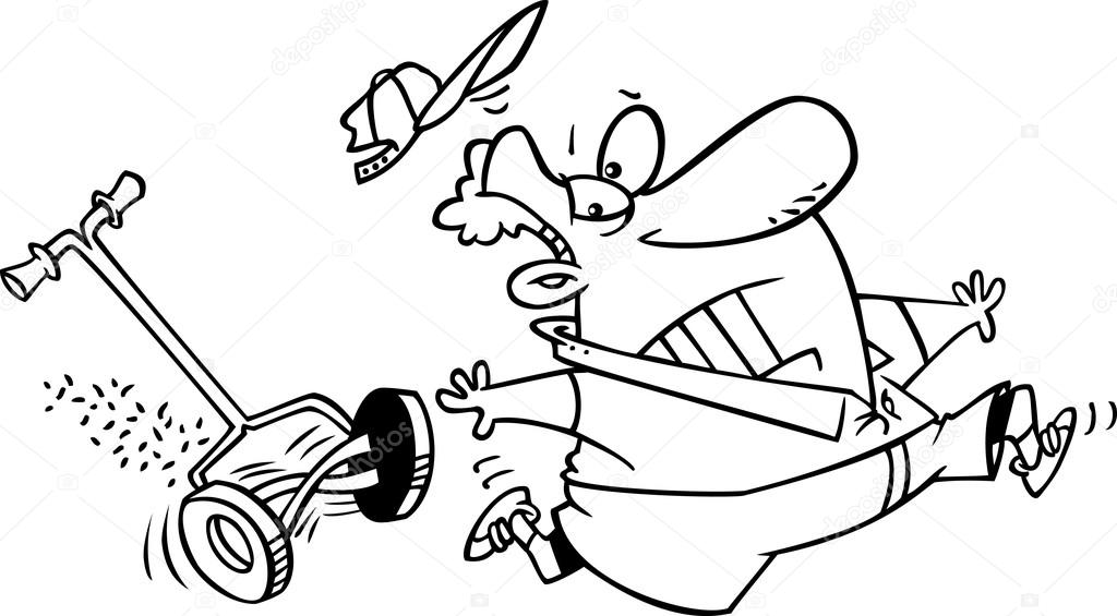 Cartoon Man Chased by a Lawn Mower — Stock Vector