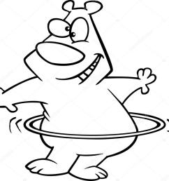 royalty free clipart illustration of a hula hooping bear black and white outline on a [ 1023 x 978 Pixel ]
