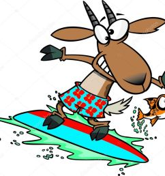 clipart fish leaping away from a surfing goat stock illustration [ 1024 x 863 Pixel ]
