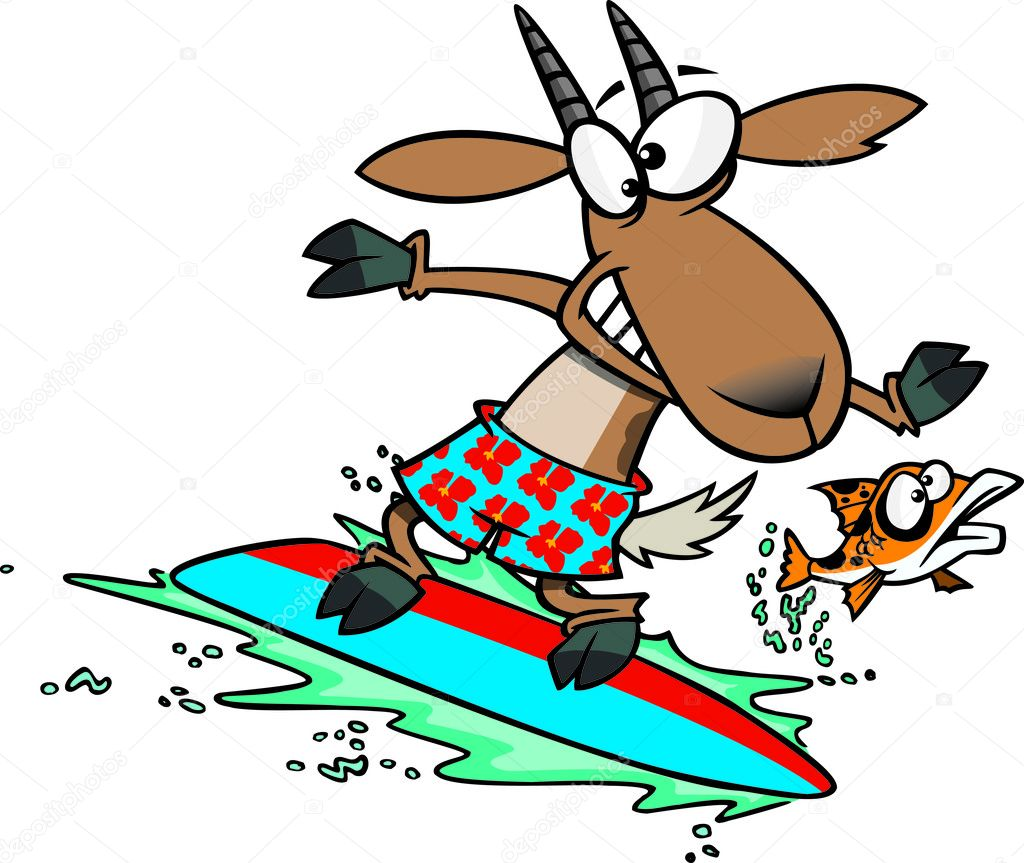 hight resolution of clipart fish leaping away from a surfing goat stock illustration