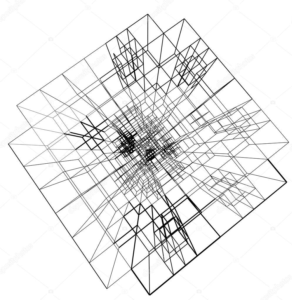 Concepto de alambre de ciudad arquitectura estructura