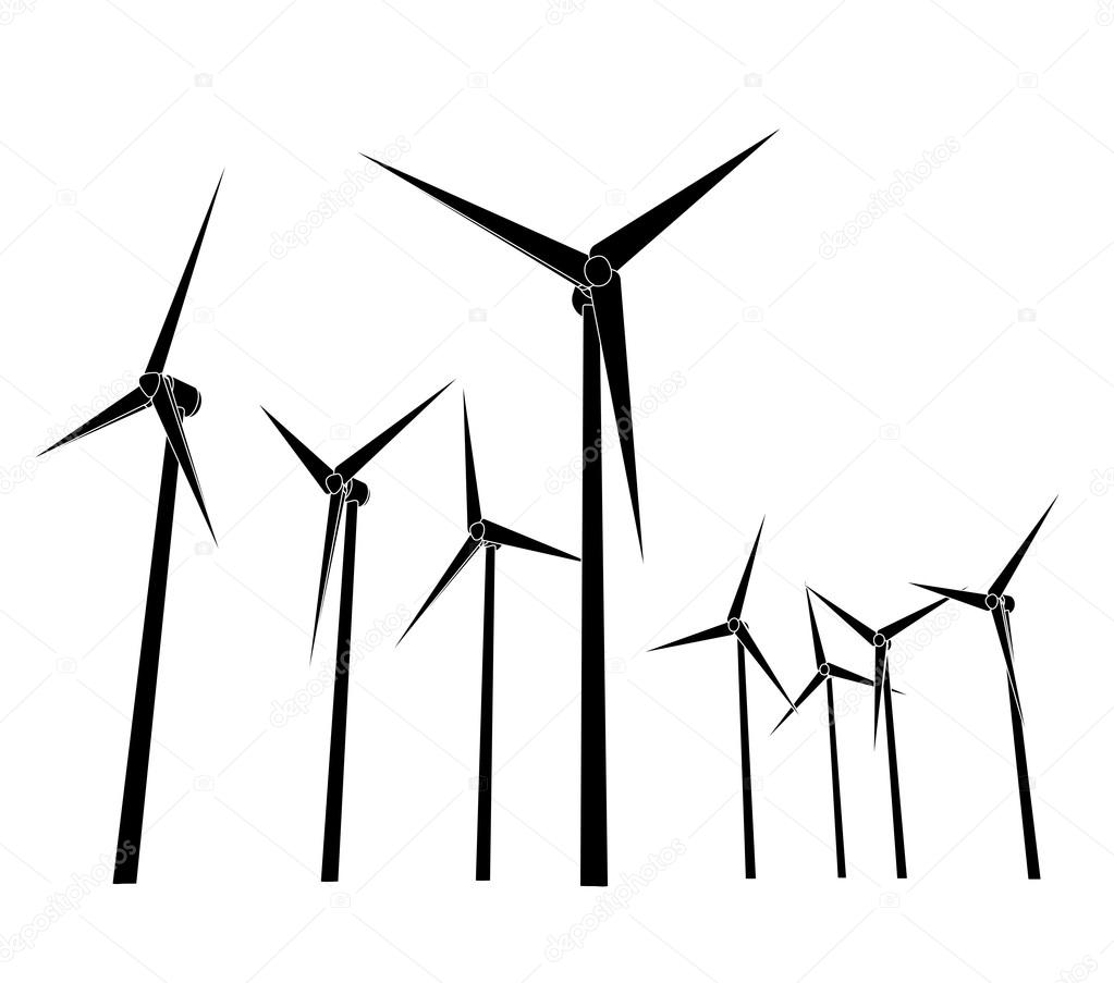 Wind energy powerful system silhouettes — Stock Vector