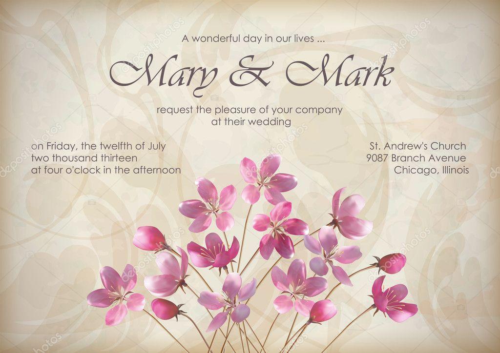Blumen Hochzeit Grukarten oder Einladung Design mit
