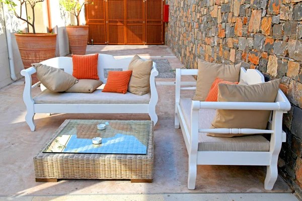 beautiful mediterranean patio with white outdoor furniture stock images page everypixel