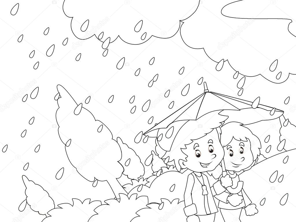 The Rainy Day In Autumn Coloring Page