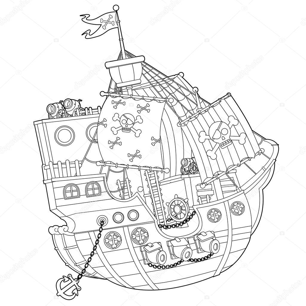 parts of a pirate ship diagram 2001 chevy malibu engine  stock photo illustrator hft 38954173