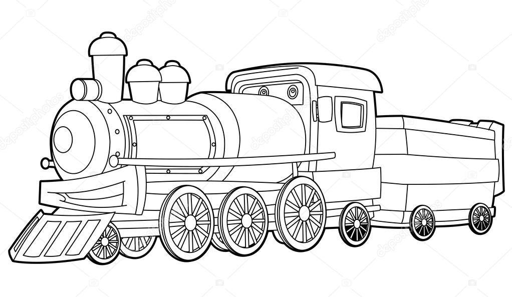 Old locomotive- coloring page — Stock Photo © illustrator