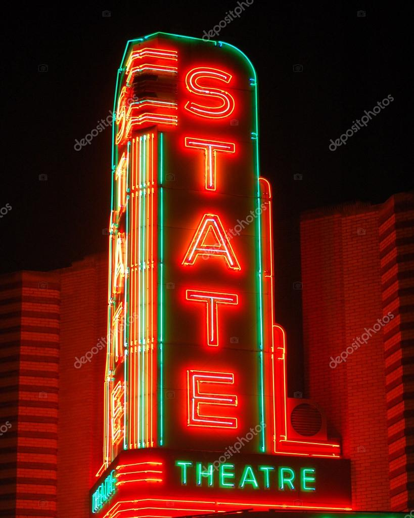 state theater sign stock