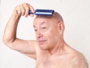 bald man hair brush