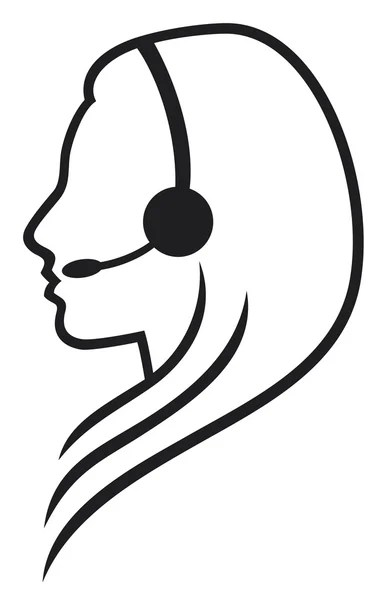 Headset symbol (woman headset, call center icon, face with