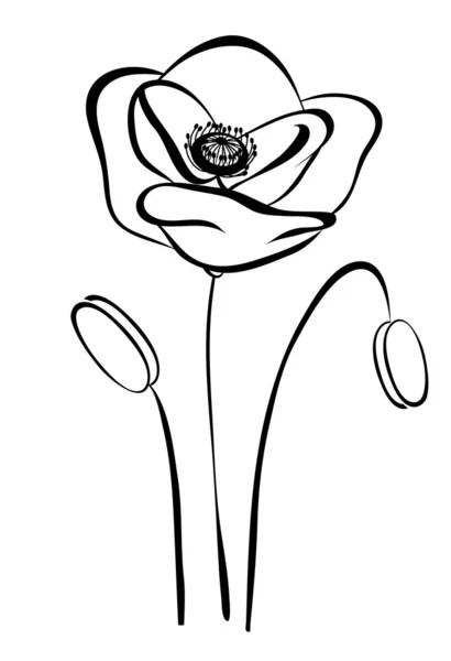 Simple silhouette black and white poppy. Abstract flower